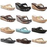 Womens Dunlop Toe Post Diamante Platform Wedge Flip Flops Ladies Sandals