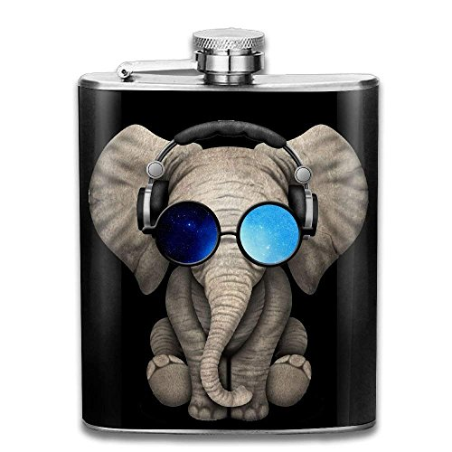 Miedhki Elephant Sunglasses Blue Sky Flagon Wine Pot Stoup Stainless Steel Flask and Funnel Liquor Alcohol Rum Container Pocket for Adults