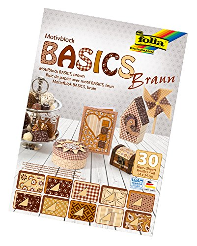 Folia Bloc Motif 46649 Basics - 24 x 34 cm 30 Feuilles Assorties, Marron