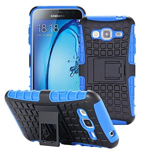 ECENCE Handyhülle Schutzhülle Outdoor Case Cover kompatibel für Samsung Galaxy J3 (2016) Duos Handytasche Blau 31010506