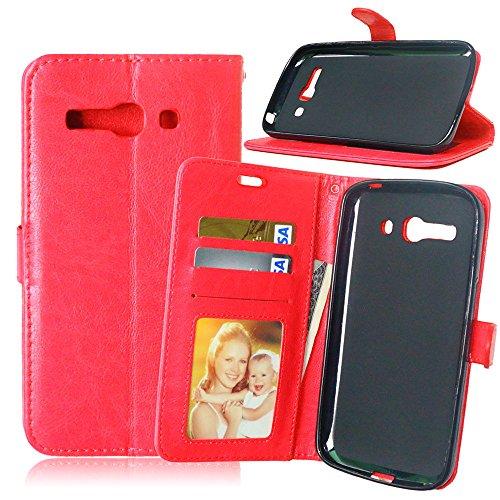 Jepson Alcatel One Touch PoP C9 (5.5 pouces) Coque PU Cuir Flip Housse Étui Cover Case Wallet Stand avec Carte de Crédit Fentes pour