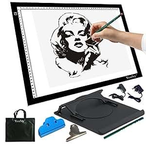 Yaufey A3 Tavoletta luminosa con luce regolabile. Per disegnare contorni e tatuaggi; trasferire diapositive e disegni su tessuti (A3 DC adattatore)