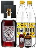 Gin-Set Monkey 47 SLOE GIN Schwarzwald Dry Gin 0,5 Liter + Haymans Sloe Gin 5cl + Monkey 47 Schwarzwald Dry Gin 5cl MINIATUR + 2 x Goldberg Tonic Water 1,0 Liter + 2 Schieferuntersetzer quadratisch 9,5 cm