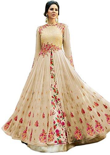4fashion empire Women Georgette Bollywood Designer Semi-Stitched Salwar Suit (4Fashion empireERTY11050_Cream_Free Size)