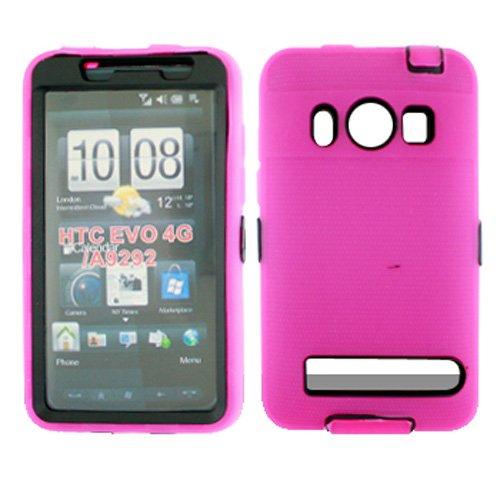 Schutzhülle für HTC EVO 4G PC36100 Armor (Hartplastik, aufsteckbar, weiche Silikonhülle, Vorder- und Rückseite) Hot Pink/Schwarz