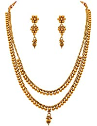 Amaal One Gram Long Rani Haram Gold Traditional Wedding Stylish Necklace Jewellery Sets With Jhumki Earrings For...
