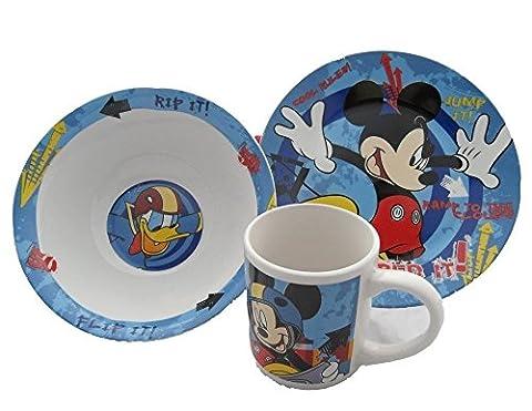 """Disney Mickey Mouse """"Shred It"""" Breakfast Set - bol, assiette, tasse"""