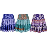 Mogul Interior Womens Dancing Silk Skirt Full Flare Renata Recycled Sari Tiered Knee Length Skirts Wholesale Set Of 3