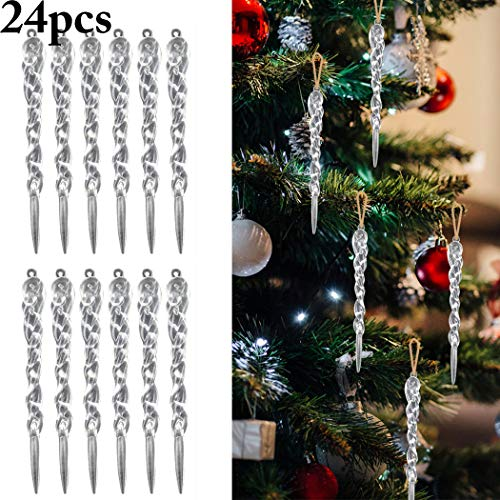 Coxeer 24PCS Christmas Icicle Ornament DIY Party Hanging Decoration Xmas Tree Ornament