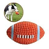 Balle Chien Jouet Ballon de Rugby, Jouet à Mâcher Balle Latex pour Chien Indestructible Jouets à Couinement Balle Sonore Chien Jeu Interactif Boule de Jouet Lance Balle Interactive pour Chien 14CM
