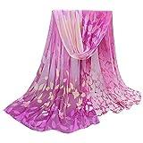 OverDose Damen Seidenschals Frauen Blumen Printed Soft Silk Chiffon Schal Wrap Schals Halstuch Tücher Schlauchschal,A-Purple