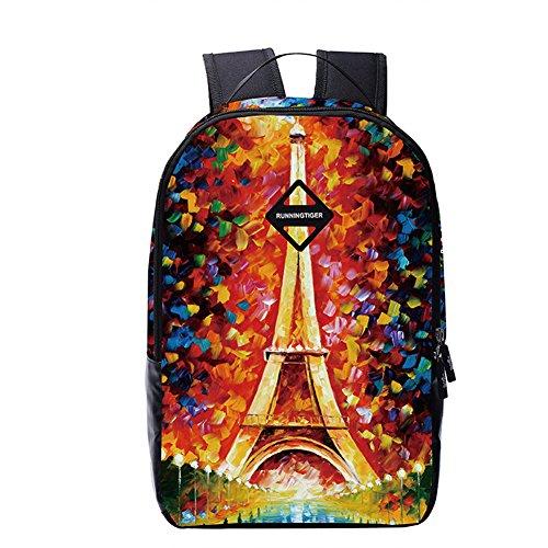 B-JOY US UK Amerikanische Flagge Rucksack Schule Büchertasche für Jungen Mädchen College Studenten (Frankreich - Eiffelturm) (Us-karte Drucken)