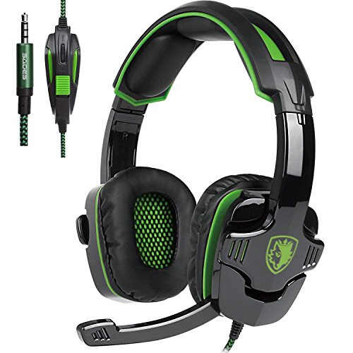 Sades SA930 Cuffia Gaming Con Suono Surround Microfono Deep Bass Controllo del Volume 3.5MM Stereo Per PC/Nuovo Xbox One/PS4/Smartphones (Over ear, Nero&Verde)
