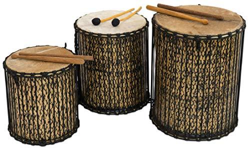 Betzold Musik - Dundun Basstrommel Bassdrum aus Bambus und Ziegenfell, Percussion