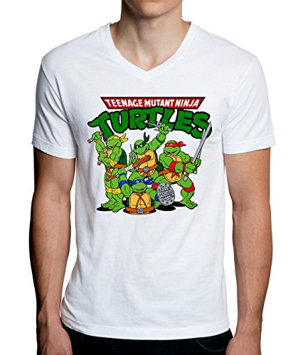 Mutant Ninja Funny Logo Graphic Design Men's V-Neck T-Shirt Large ()