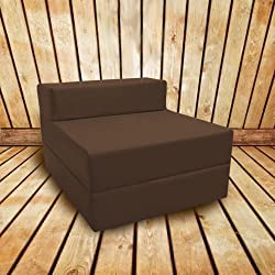 Shopisfy Waterproof Outdoor Single Fold Out Foam Z Bed - Brown