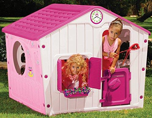 woodienchen - Spielhaus mit Fenster und Tür, 140x116x108 cm, Rosa