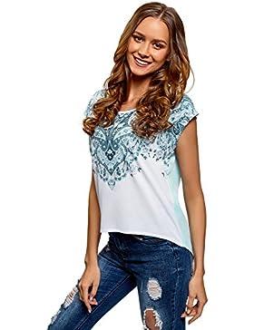 oodji Ultra Donna T-Shirt Stampata con Retro in Chiffon