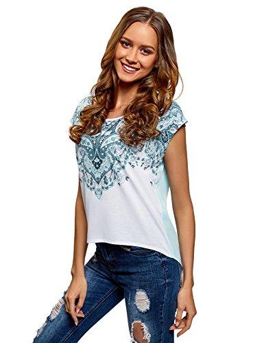 oodji Ultra Damen Bedrucktes T-Shirt mit Chiffon-Rücken, Türkis, DE 38/EU 40/M (T-shirt Marine-blau-damen Strass)