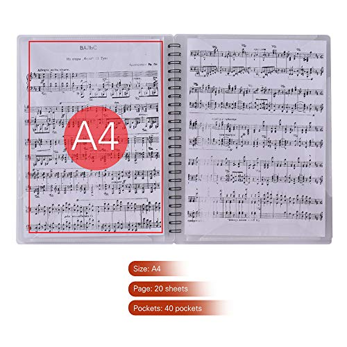 Fesjoy Notenblattordner Multifunktionaler Musiknotenhalter A4-Blatt Papierblatt Organizer-Ordner mit 40 Fächern