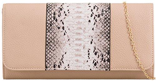UKFS signore Designer Faux Box Snake rigido Stampa frizione di sera della borsa Cammello
