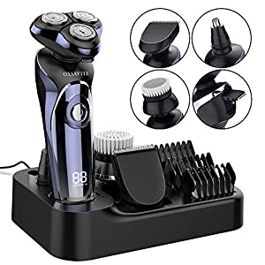 Electric Shaver, Wet & Dry Men's Electric Rotary Shaver Razor with Nose Hair Trimmer Facial Cleaning Brush, All in One USB Rechargeable Waterproof Cordless Multifunctional Grooming Kit