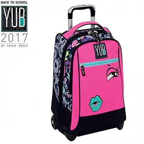 Zaino trolley svalvolati seven yub girl rosa ragazze scuola viaggi