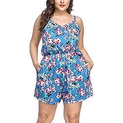 FeelinGirl Femme Combishort Grande Taille Combinaison Pantalon Court sans Manches de Plage Été Large Jumpsuits avec Poche Fines Bretelles Fleuri XL-4XL, Fleuri Bleu, 4XL=FR58-60