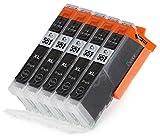 5 Multipack komp. XL Druckerpatronen für Canon Pixma MG7550 MG7150 MG6650 MG6450 MG6350 MG5655 MG5650 MG5550 MG5450s MG5400 MG5450 IP7250 IP8750 IX6850 MX725 MX925 kompatibel 5 x 551BK XL photoschwarz mit Chip