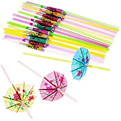 Blulu 100piezas paraguas desechables Flexible Pajitas para fiesta Luau fiestas, bares, restaurantes