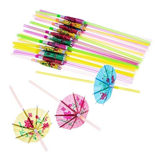 blulu 100Stück Regenschirm Einweg biegbare Trinkhalme für Luau Parteien, Bars, Restaurants