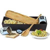 Das perfekte Rührei - Geschenkset mit Ablage und Kochlöffel aus Oliven-Holz und Rührei-Gewürz