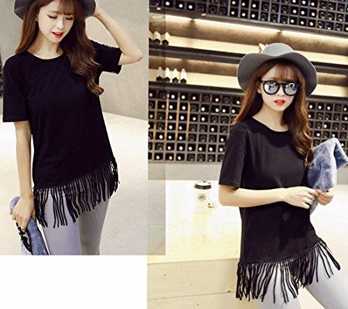 Mode Estivale Decontractee Des Femmes De L'Ourlet Panicule Tops A Manches Courtes En Coton T-Shirt Blouse Noir