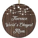 Designsify Florencia World 's Okayest Mom-Ceramic Circle Ornament, Adorno de Navidad de cerámica decoración de árbol de Navidad, Regalo para cumpleaños, Navidad