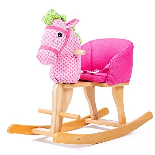 Qxmei il cavallo a dondolo per bambini trojan 2 in 1 in legno massello di musica bambino bambino sedia a dondolo regalo 1-4 anni,d