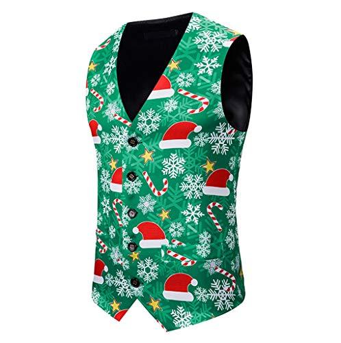 SHE.White Weihnachten Herren Anzüge Jacken Ärmellose Bankett Geschäft Beiläufig Tank Tops Weihnachtsdruck Weste Kurz Mäntel Outwear