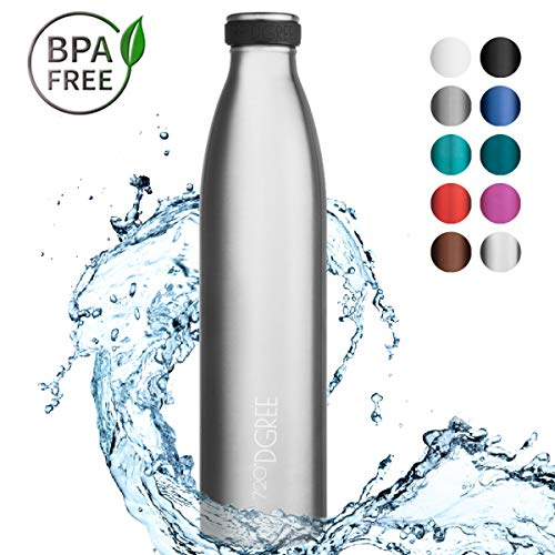 720°DGREE Edelstahl Trinkflasche milkyBottle- 1000ml, 1l - Isolierflasche Schmal - Thermosflasche Auslaufsicher - Perfekte Outdoor Thermoskanne für Kinder, Schule, Sport, Training, Fitness, Gym