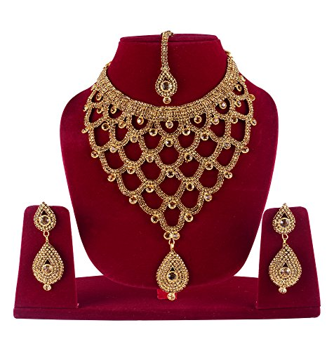 Bridal Necklace Set With Earrings & Maang Tikka Indian Jewelry Set / Perfect Gifts For Her