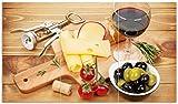 Wallario Herdabdeckplatte/Spritzschutz aus Glas, 3-teilig, 90x52cm, für Ceran- und Induktionsherde, Genuss am Abend - Rotwein, Käseplatte, Oliven und Tomaten