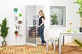 Insektenschutz Fliegengitter Tür Premium Alurahmen weiß braun anthrazit 100 x 210 cm mit Scharnierkleber OHNE BOHREN
