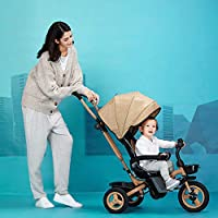 QXMEI 4 In 1 Childrens Folding Tricycle 360° Swivelling Saddle 6 Months To 5 Years 3-Point Safety Belt Kids Tricycle Comfortable And Adjustable Backrest Child Trike Maximum Weight 25 Kg,Brown
