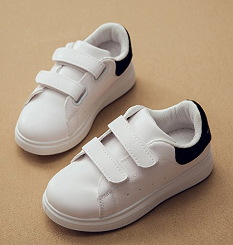 Kinder Frühling Unisex Runde Zehen Hohl Atmungsaktive Schnellverschluss Bunte Ferse Flach Sneakers Schwarz