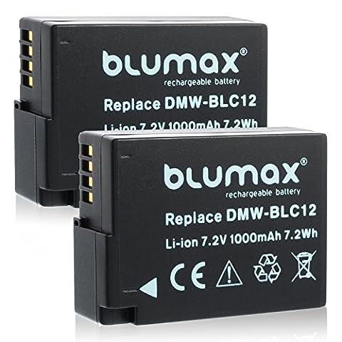 2x Blumax Akku für Panasonic DMW-BLC12 / DMW-BLC12E 1000mAh kompatibel mit Lumix DMC: G5   G6   GX8   G70   G81   GH2   FZ200   FZ300   FZ1000   FZ2000   Leica V-Lux 4