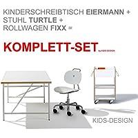 Preisvergleich für KOMPLETT-SET - Kinderschreibtisch Eiermann 150x75 cm weiß + Stuhl Turtle weiß + Container + Schale - Richard Lampert Möbel
