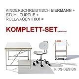 Ausstellungsstück KOMPLETT-SET - Kinderschreibtisch Eiermann 150x75 cm weiß + Stuhl Turtle weiß + Container + Schale - Richard Lampert Möbel