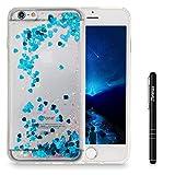 Slynmax iPhone 6s Plus Hülle Durchsichtig TPU Glitzer Liquid Case Schutzhülle für iPhone 6 Plus / 6s Plus 5,5 Zoll Bumper Handyhülle Tasche Stoßfest Shell(Blau)