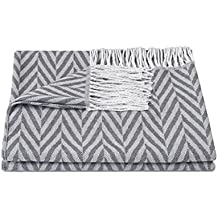 "ZOLLNER® Manta para el sofá / plaid / manta para sillón / foulard con flecos, 130x170 cm, diseño de espiga, gris claro, en varios colores, del especialista en textiles para hostelería, serie ""Spina"""