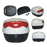Box Gepaeck Motorrad Roller Top Case mit Rückenlehne 29L 2 Schluessel Weiss