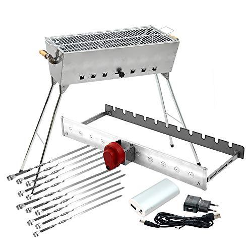 All-Inclusive-Edelstahl-Grillset LUX: Grill + Grillmaster USB + Motor + Powerbank + 11 Spieße für Schaschlik, Fisch, Würstchen und Stakes, Komplettset zum sofort Loslegen
