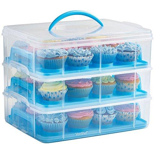 VonShef - Snap and Stack - Dreistöckige, blaue Cupcake- und Kuchenbox -Zum Aufbewahren und Transportieren von bis zu 36Cupcakes oder 3großen Kuchen -